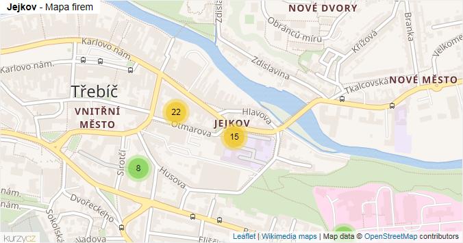 Jejkov - mapa rozložení firem v části obce.