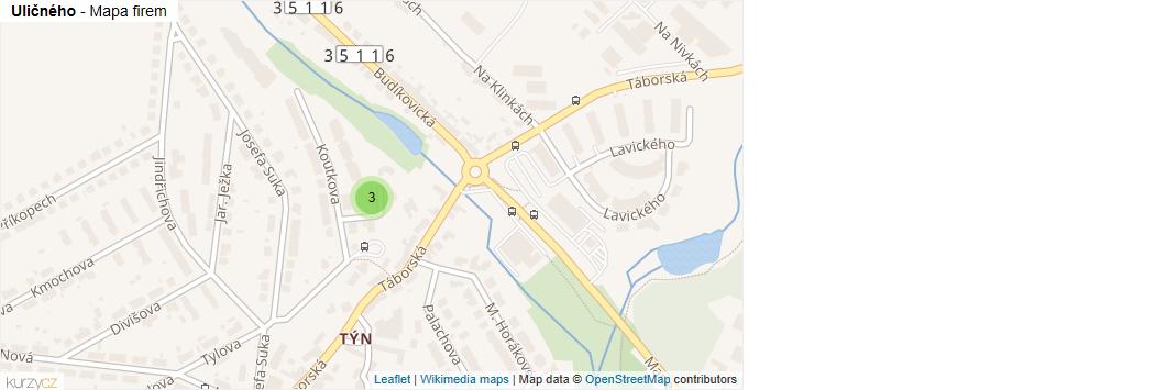 Uličného - mapa rozložení firem v ulici.