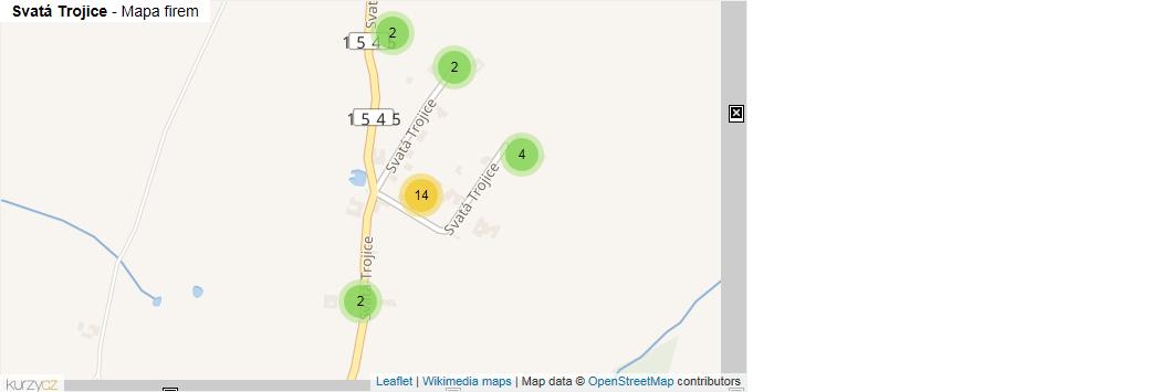 Svatá Trojice - mapa rozložení firem v ulici.