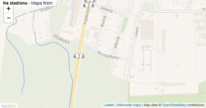 Ke stadionu - mapa rozložení firem v ulici.