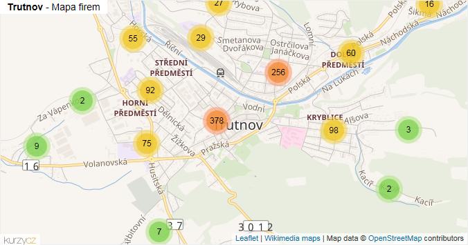 Trutnov - mapa rozložení firem v obci.
