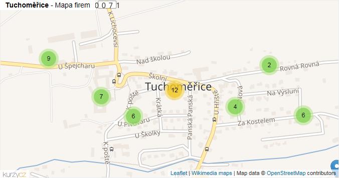 Tuchoměřice - mapa rozložení firem v obci.