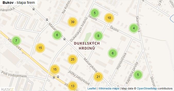 Bukov - mapa rozložení firem v části obce.