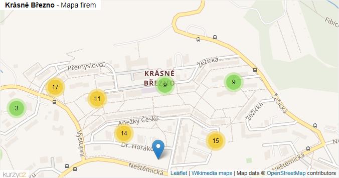 Krásné Březno - mapa rozložení firem v části obce.