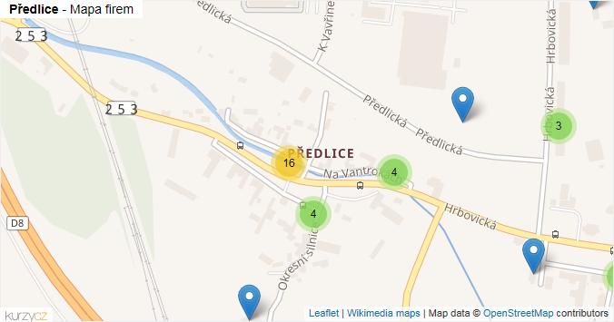 Předlice - mapa rozložení firem v části obce.