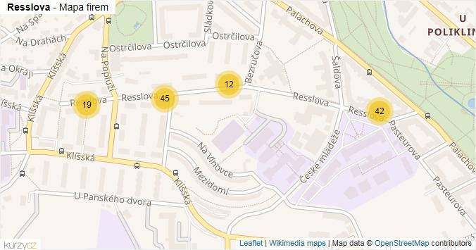 Resslova - mapa rozložení firem v ulici.