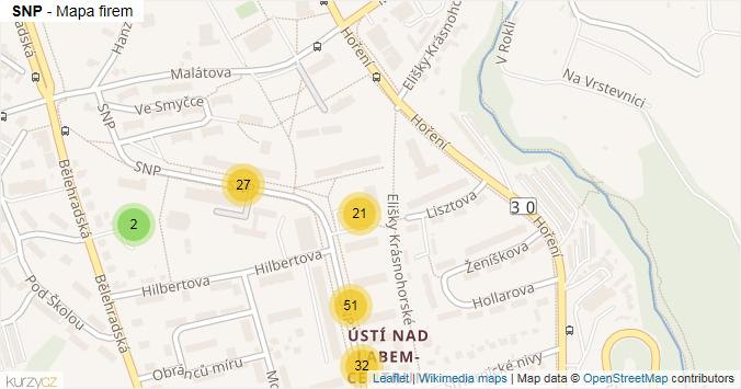 SNP - mapa rozložení firem v ulici.