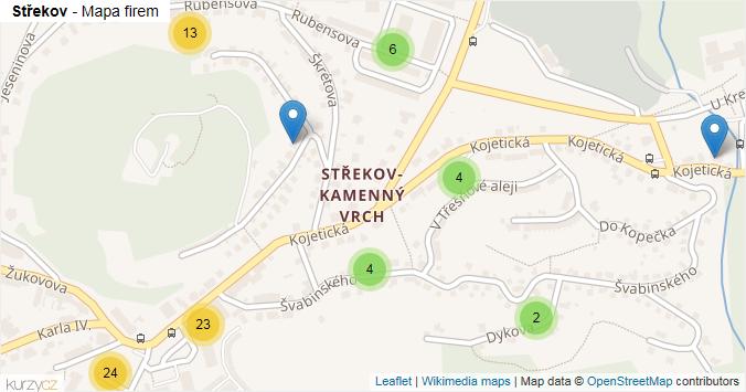 Střekov - mapa rozložení firem v části obce.