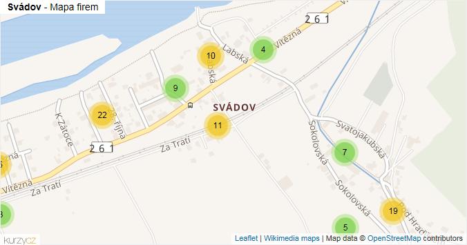 Svádov - mapa rozložení firem v části obce.