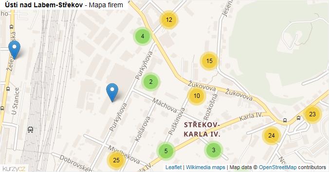 Ústí nad Labem-Střekov - mapa rozložení firem v městské části.