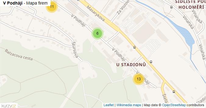 V Podhájí - mapa rozložení firem v ulici.