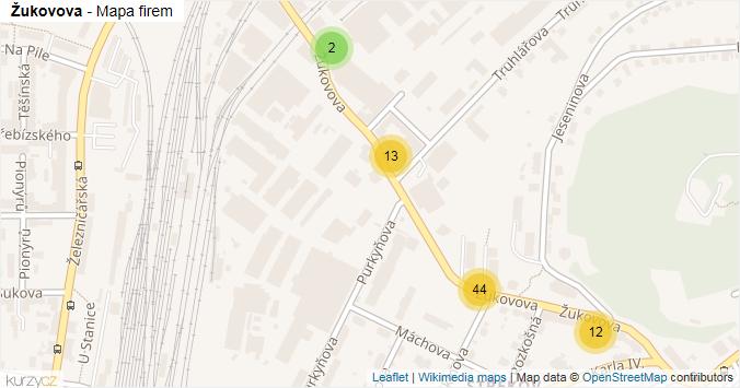 Žukovova - mapa rozložení firem v ulici.