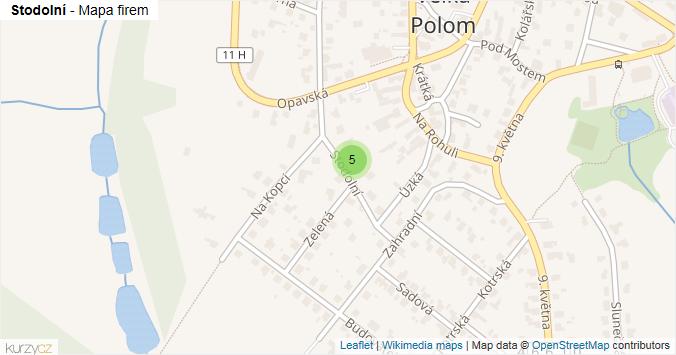 Stodolní - mapa rozložení firem v ulici.