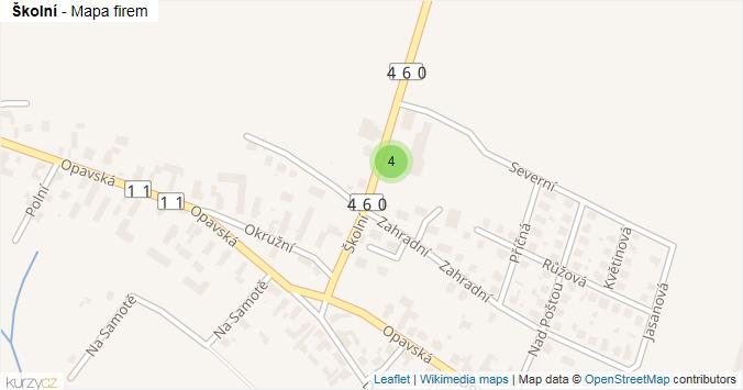Školní - mapa rozložení firem v ulici.