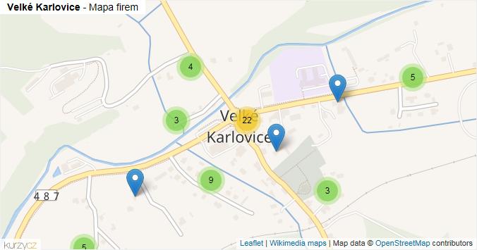 Velké Karlovice - mapa rozložení firem v obci.