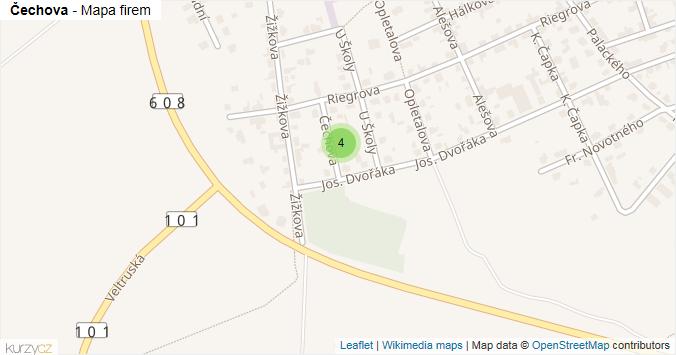 Čechova - mapa rozložení firem v ulici.