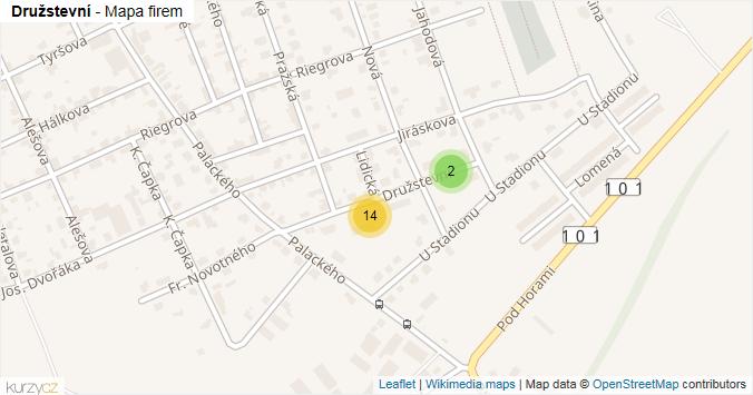 Družstevní - mapa rozložení firem v ulici.