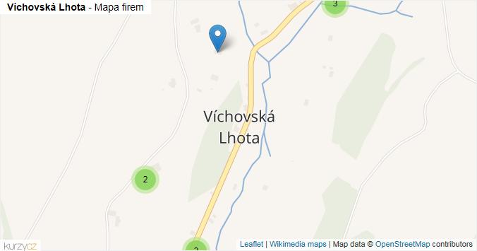 Víchovská Lhota - mapa rozložení firem v části obce.