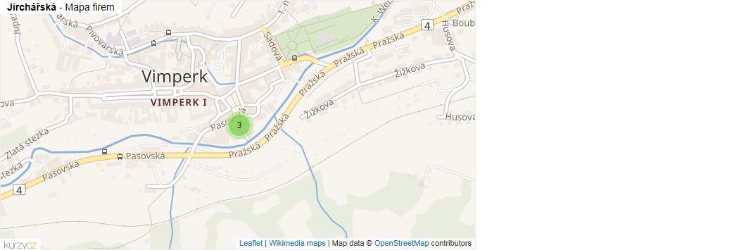 Jirchářská - mapa rozložení firem v ulici.