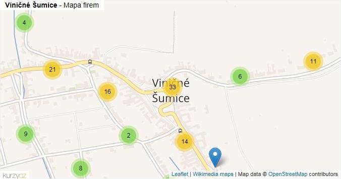 Viničné Šumice - mapa rozložení firem v části obce.