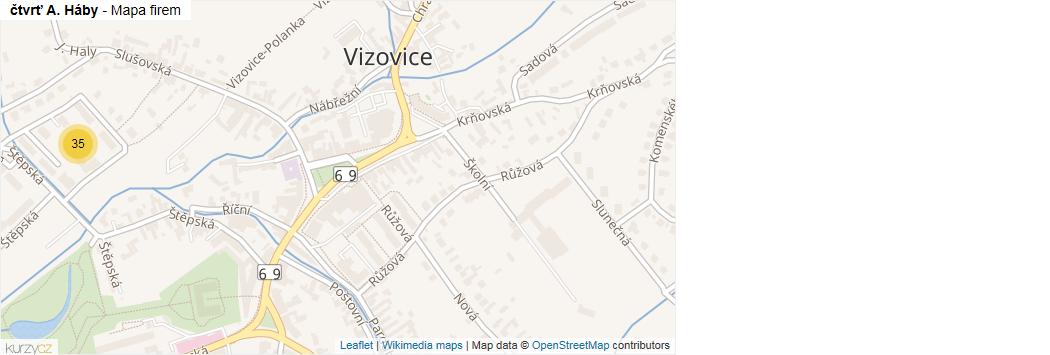 čtvrť A. Háby - mapa rozložení firem v ulici.