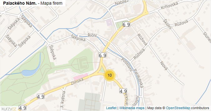 Palackého Nám. - mapa rozložení firem v ulici.