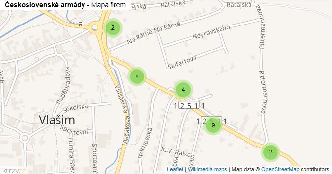 Československé armády - mapa rozložení firem v ulici.