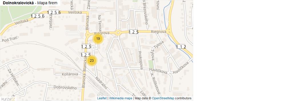 Dolnokralovická - mapa rozložení firem v ulici.