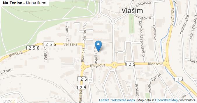 Na Tenise - mapa rozložení firem v ulici.