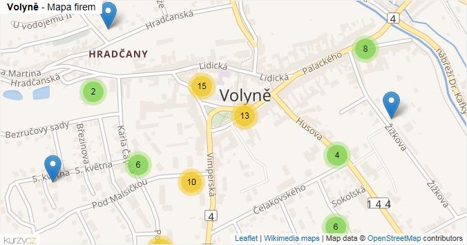 Volyně - mapa rozložení firem v obci.
