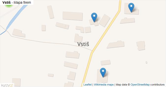 Vstiš - mapa rozložení firem v obci.