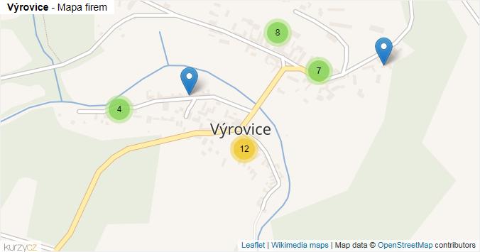 Výrovice - mapa rozložení firem v části obce.