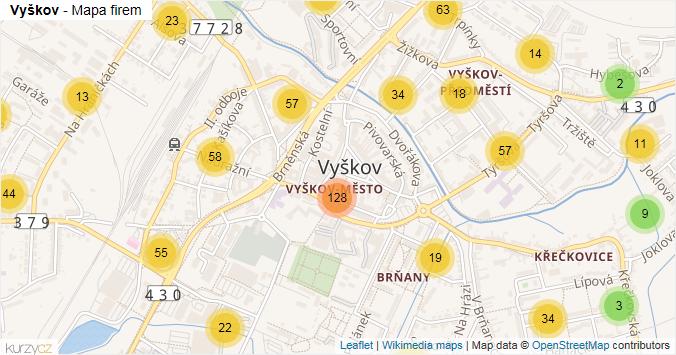 Vyškov - mapa rozložení firem v obci.