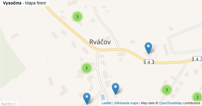 Vysočina - mapa rozložení firem v obci.