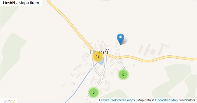Hrabří - mapa rozložení firem v části obce.