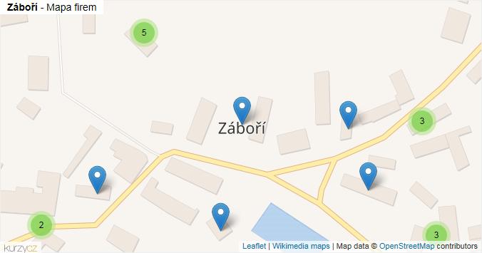 Záboří - mapa rozložení firem v obci.