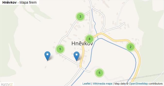 Hněvkov - mapa rozložení firem v části obce.