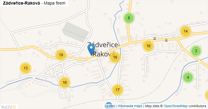 Zádveřice-Raková - mapa rozložení firem v obci.