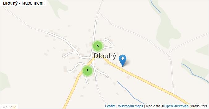 Dlouhý - mapa rozložení firem v části obce.