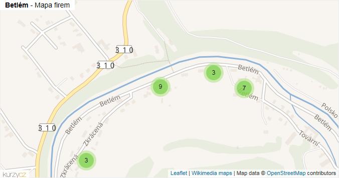 Betlém - mapa rozložení firem v ulici.