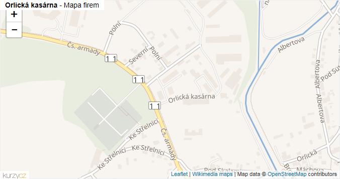 Orlická kasárna - mapa rozložení firem v ulici.