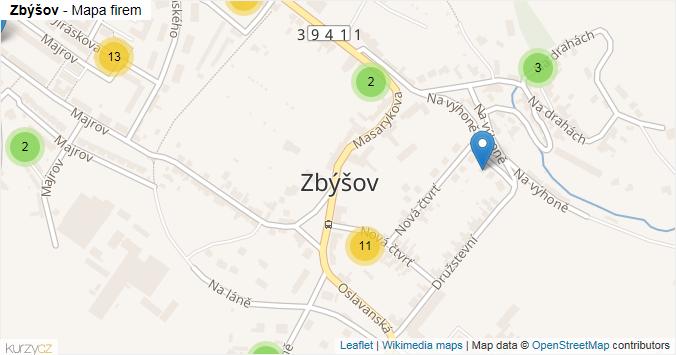 Zbýšov - mapa rozložení firem v obci.