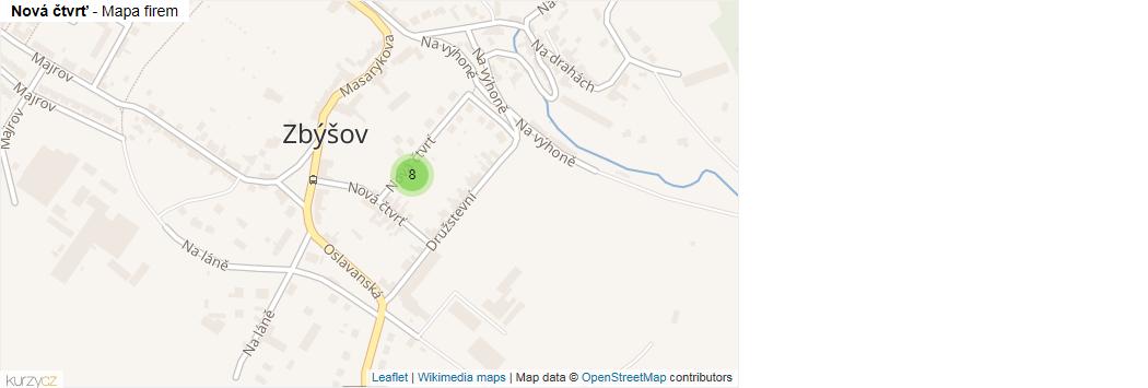 Nová čtvrť - mapa rozložení firem v ulici.