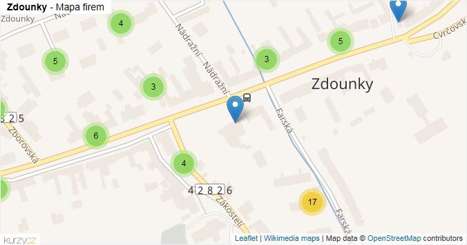 Zdounky - mapa rozložení firem v obci.
