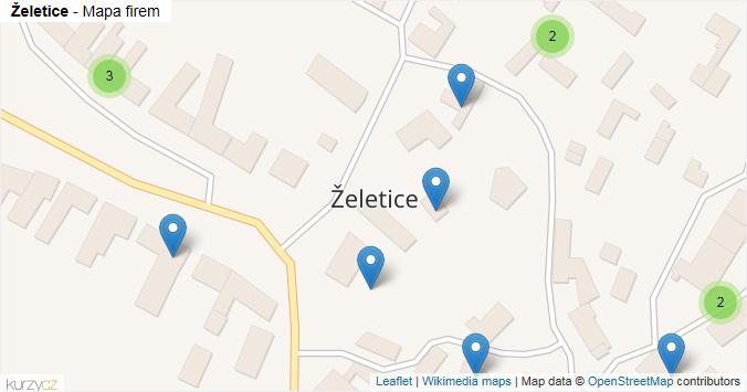 Želetice - mapa rozložení firem v obci.