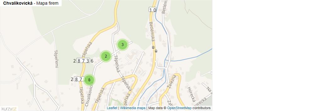 Chvalíkovická - mapa rozložení firem v ulici.