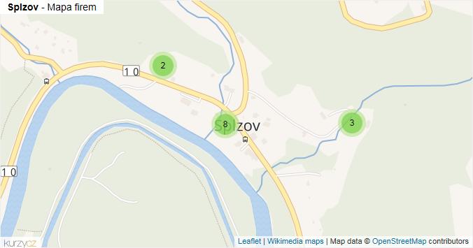 Splzov - mapa rozložení firem v části obce.