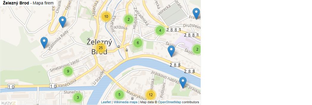 Železný Brod - mapa rozložení firem v části obce.