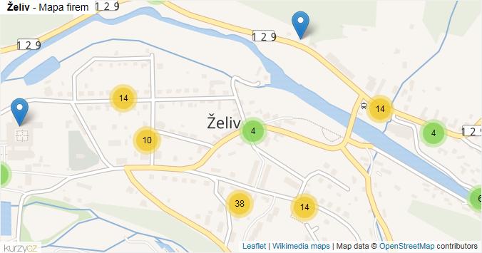 Želiv - mapa rozložení firem v části obce.