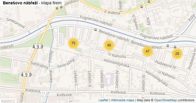 Benešovo nábřeží - mapa rozložení firem v ulici.